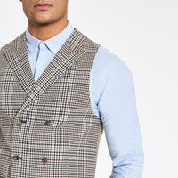 River Island Brown Heritage Check Suit Waistcoat