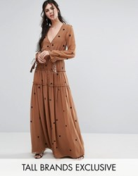 White Cove Tall Star Embellished Maxi Dress With Tassel Sleeve Copper Orange