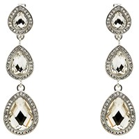 Monet 3 Crystal Clip On Drop Earrings Silver Clear
