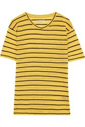 Etoile Isabel Marant Andreia Striped Slub Linen And Cotton Blend Jersey Top Yellow