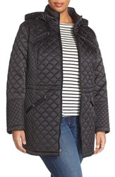 Plus Size Women's Laundry By Design Hooded Zip Front Quilted Coat Black