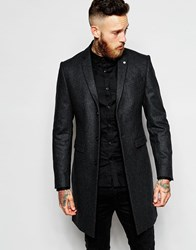 Noose And Monkey Wool Overcoat Grey