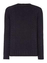 Jack And Jones Men's Cable Knit Crew Neck Jumper Navy
