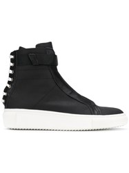 D.Gnak Laced Back Hi Tops Cotton Leather Rubber Black