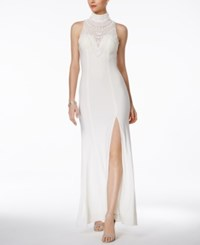 Betsy And Adam Embellished Halter A Line Gown Ivory