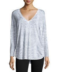 Joie Chyanne Animal Print V Neck Sweater Vapor Grey