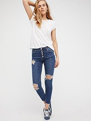 Free People Destroyed Reagan Button Front Jean