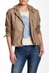 Lucky Brand Genuine Leather Mixed Media Jacket Beige