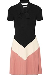 Red Valentino Redvalentino Pussy Bow Color Block Ribbed Knit Mini Dress Black