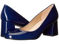 French Sole Trance Deep Blue Patent Leather Women's Flat Shoes