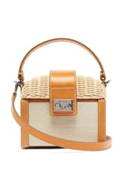 Rodo Wicker And Canvas Clutch Bag Beige Multi