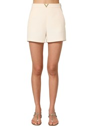 Valentino Metal V Logo Crepe Couture Shorts Ivory