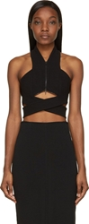 Dion Lee Black Cr Pe Halter Zip Lock Bustier