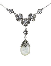 Lord And Taylor Mother Of Pearl Pear Pendant Necklace