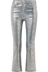 J Brand Selena Cropped Metallic Snake Effect Leather Flared Pants Silver