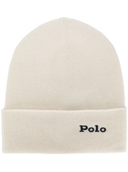 Polo Ralph Lauren Cashmere Logo Embroidery Beanie White