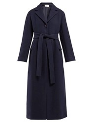 The Row Amoy Single Breasted Belted Cashmere Coat Navy