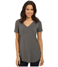Culture Phit Preslie Cap Sleeve Modal V Neck Top Heather Charcoal Women's Clothing Gray