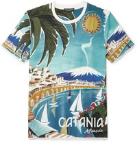 Dolce And Gabbana Printed Cotton T Shirt Light Blue