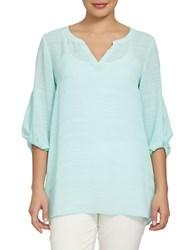 Chaus Electric Sunset Crinkle Novelty Blouse Beach Foam