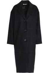 Vanessa Bruno Checked Wool Blend Coat Charcoal