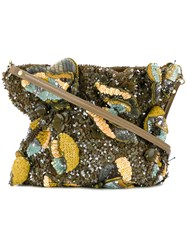 Jamin Puech Sequin All Over Shoulder Bag Rayon Cotton Sequin Leather Green