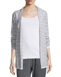 Eileen Fisher Organic Slub Striped Hooded Cardigan Women's