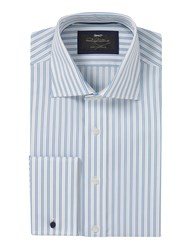 Paul Costelloe Textured Stripe Double Cuff Shirt Blue