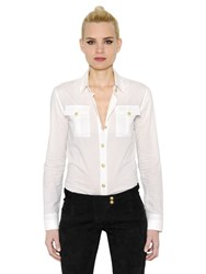 Balmain Cotton Poplin Shirt With Lion Buttons