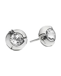 John Hardy Sterling Silver Bamboo Small Round Stud Earrings With White Topaz Silver White
