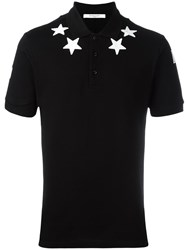Givenchy Star Applique Polo Shirt Black