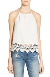 Women's Leith Lace Trim Halter Top Ivory Egret