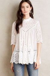 Anthropologie Vittoria Mockneck Top White