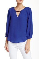 Lily White Bar Front Long Sleeve Blouse Blue