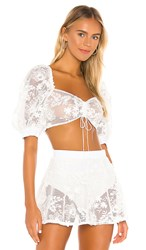For Love And Lemons Crochet Daisy Crop Top In White. Ivory