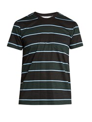 Ami Alexandre Mattiussi Striped Cotton T Shirt Black Multi