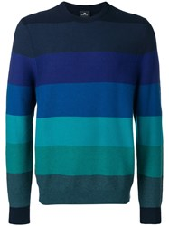 Paul Smith Ps By Striped Crewneck Sweater Blue