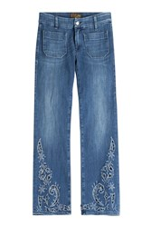 Seafarer Lord Jim Cropped Jeans With Cut Out Detail Blue