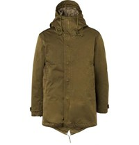 Ten C Quilted Microfiber Hooded Down Parka Green