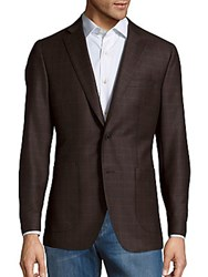 Saks Fifth Avenue Made In Italy Wool Checked Sportcoat Brown