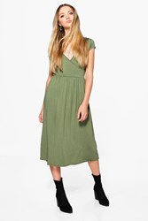 Boohoo Cap Sleeve Midi Skater Dress Khaki