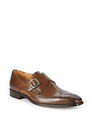 Saks Fifth Avenue Leather Monk Strap Brogues Brown