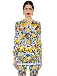 Dolce And Gabbana Maiolica Printed Charmeuse Tunic