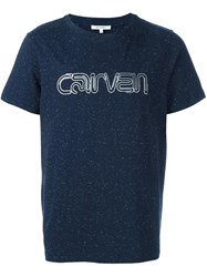Carven Glitter Effect Logo T Shirt Blue
