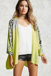 Forever 21 Floral Print Open Front Kimono Green Black