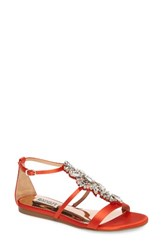 Badgley Mischka Women's Barstow Embellished Strappy Sandal Coral Red Satin