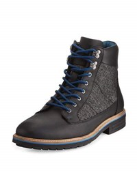 Penguin Hiker Mixed Media Leather Lace Up Boot Black