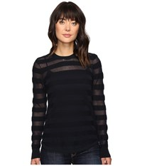 Michael Michael Kors Sheer Stripe Long Sleeve Crew New Navy Women's Clothing