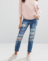 Missguided Riot Ripped High Rise Jeans With Emoji Print Indigo Blue