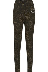 The Upside Schulz Leopard Print Cotton Jersey Track Pants Animal Print